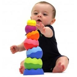 TOBBLES NEO 6 palle IMPILABILI gioco tattile TORRE ARCOBALENO età 6 mesi + FAT BRAIN TOY CO attività