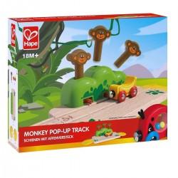 PERCORSO SCIMMIE POP UP monkey popup track IN LEGNO trenino E3809 treno HAPE età 18 mesi +