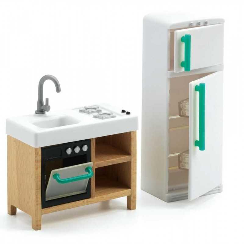 Cucina compatta mobili in plastica legno e tessuto per la casa delle bambole gioco djeco dj07833 - Cucina compatta ...