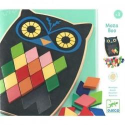 MOZA BOO gioco in legno MOSAICO gufi DJECO 10 modelli 57 PEZZI rombi DJ01693 età 3+