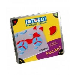 IOTOBO POCKET mosaico magnetico 40 PEZZI costruzioni 3 FORME set giovani artisti ROSSO E BLU età 5+