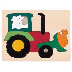 Puzzle in legno TRATTORE 10 pezzi Hape George Luck E6507 età da 2 anni
