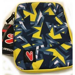 SLEEVE CASE LARGE busta porta tablet CUSTODIA sacca SEVEN bicolore GRIGIO GIALLO accessori CON LA ZIP