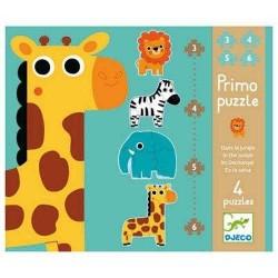 Primo PUZZLE Djeco NELLA GIUNGLA 4 puzzles DJ07135 educativo 3 4 5 E 6 PEZZI età 2+