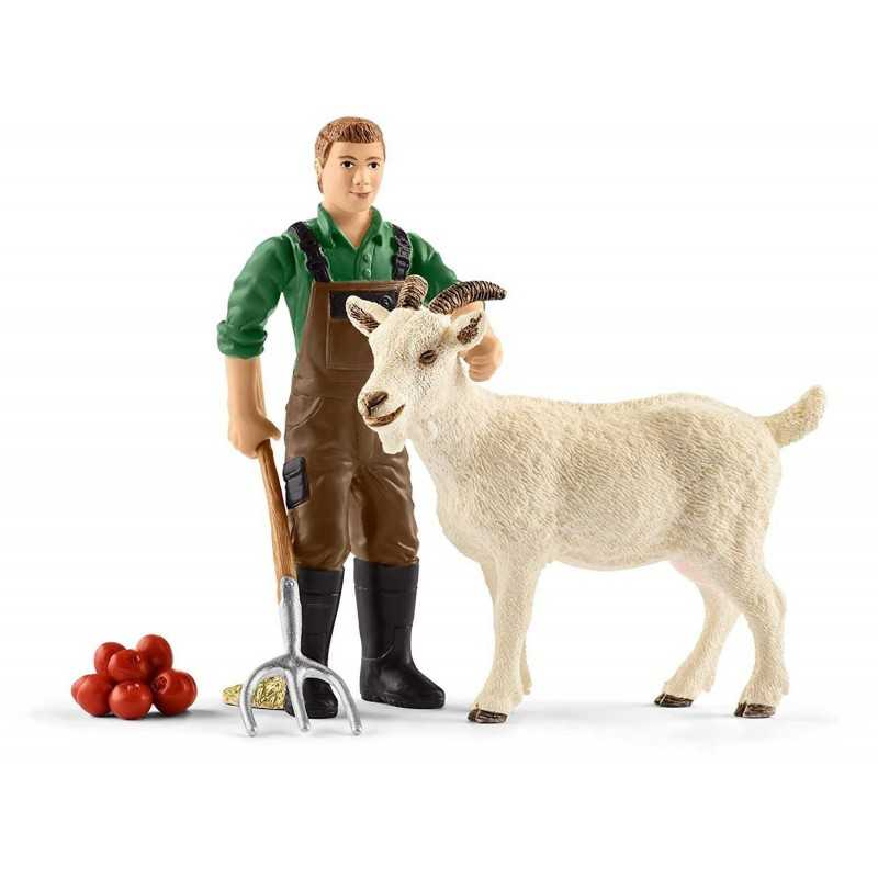CONTADINO CON CAPRA farm club SCHLEICH 42375 animali fattoria in resina