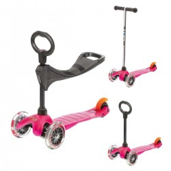 MONOPATTINO mini micro sporty 3 IN 1 mono pattino ROSA originale 3 RUOTE età da 1 a 5 anni