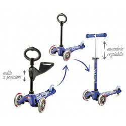 MONOPATTINO mini micro 3 in 1 DELUXE mono pattino BLU originale 3 RUOTE TRASPARENTI età 1+