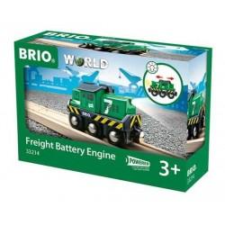 LOCOMOTIVA TRENO MERCI trenino BRIO WORLD treni in legno 33214 a batteria FREIGHT BATTERY ENGINE età 3+