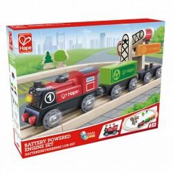 SET LOCOMOTIVA A BATTERIA E GRU CON BINARI treno in legno HAPE trenino E3721 età 3+