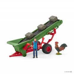 Set NASTRO TRASPORTATORE FIENO E CONTADINO miniature in resina SCHLEICH 42377 kit da gioco FARM WORLD età 3+