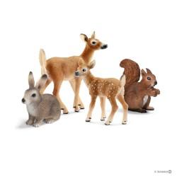 Set ANIMALI DELLA FORESTA gioco SCHLEICH miniature in resina WILD LIFE kit FOREST daino lepre scoiattolo cerbiatto 14795 età 3+