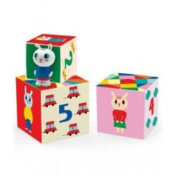 5 cubi BUNNYBLOC cubotti sovrapponibili CON CONIGLIETTO in gomma DJECO cartone DJ09104 robusto 12 MESI +