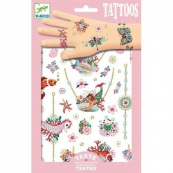 TATTOOS tatuaggi GIOIELLI di Fiona RIMUOVIBILI tattoo DJECO 2 fogli di tatuaggi DJ09586 età 3+