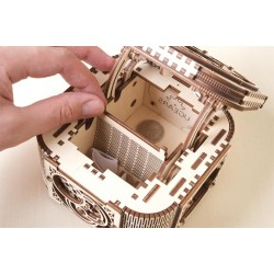 PORTAGIOIE MECCANICO in legno UGEARS treasure box da montare PUZZLE 3D 190 pezzi