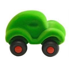 LITTLE CAR GREEN macchinina morbida VERDE gomma naturale RUBBABU caucciu 100% NATURAL gioco tattile 1+