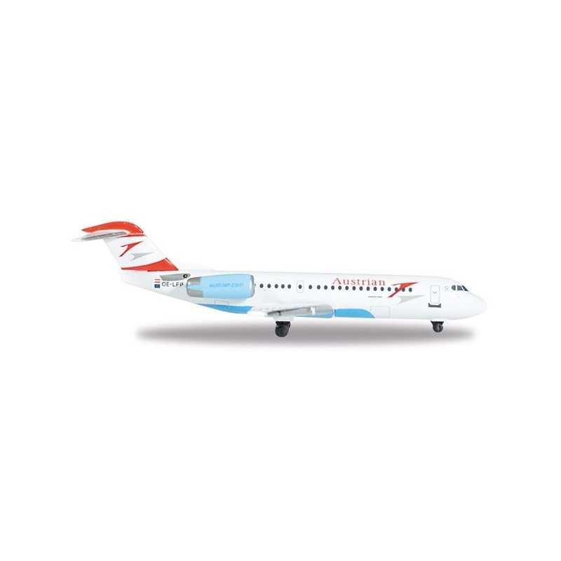 AUSTRIAN AIRLINES FOKKER 70 WELS aereo in metallo 527408 modellino HERPA WINGS scala 1:500