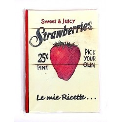 RICETTARIO stampato FRAGOLE album CARTASTELLA 18 x 25 cm FATTO A MANO carta IN ITALIA hand made