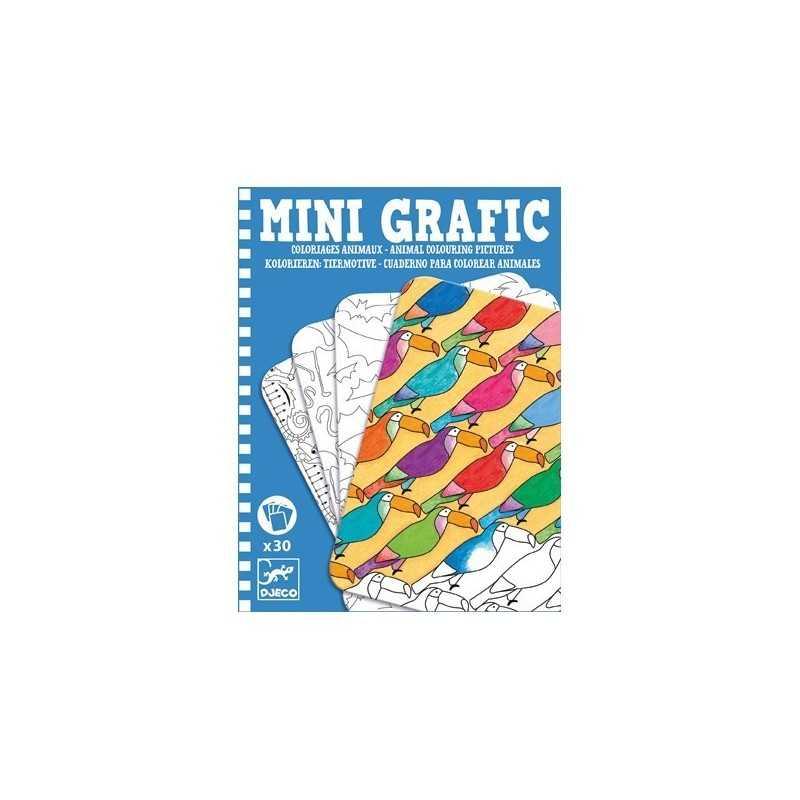 Mini Grafic Da Colorare Animali 30 Schede Djeco Cartoncino Dj05382