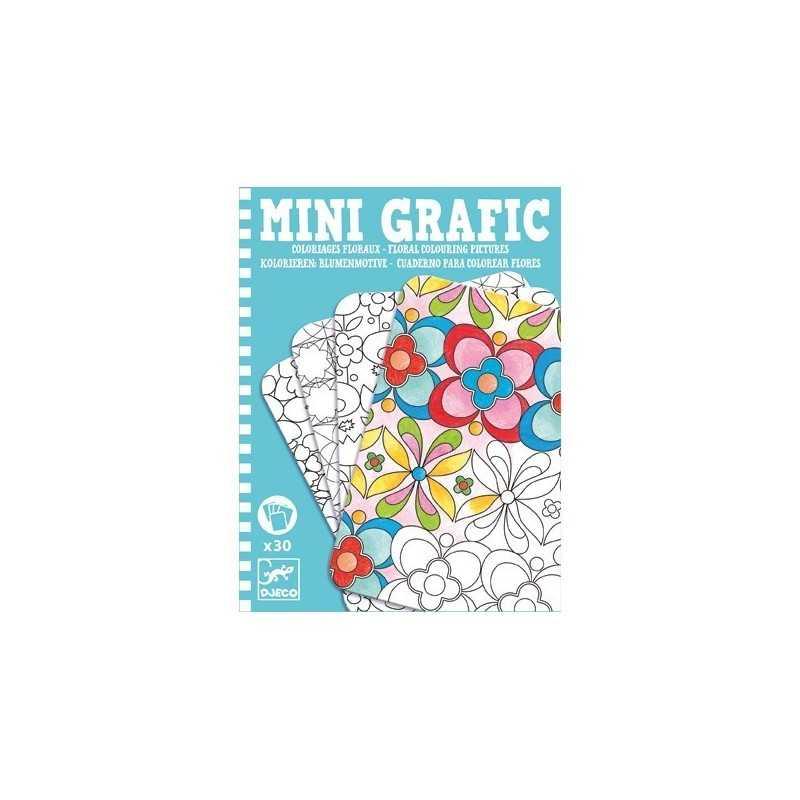 Mini Grafic Da Colorare Fiori 30 Schede Djeco Cartoncino Dj05380 Età 8