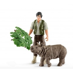 RANGER E CUCCIOLO DI RINOCERONTE STARTER SET 42428 Schleich Wild life animali selvatici