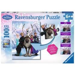 PUZZLE 100 PEZZI Ravensburger FROZEN xxl TROVA LE 9 DIFFERENZE anna 49 X 36 CM età 6+