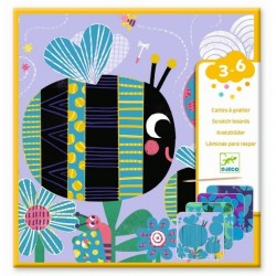 CARTE DA GRATTARE scratch boards INSETTI kit artistico 4 TAVOLE gioco DJECO set DJ09092 età 3+