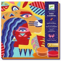 SABBIE COLORATE e glitter TOTEM ANIMALI kit artistico 5 TAVOLE gioco set DJECO DJ08633 età 8+