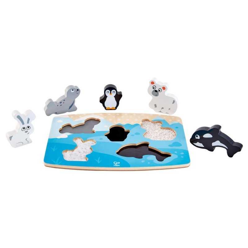 PUZZLE TATTILE POLARE IN LEGNO orso orca pinguino foca coniglio HAPE gioco E1620 età 2+