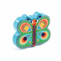 MARACAS strumento musicale FARFALLA butterfly DJ06017 azzurro DJECO età 3+