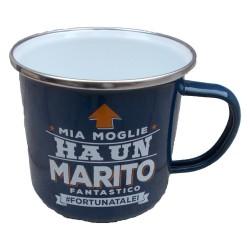 TAZZA mug MIA MOGLIE HA UN MARITO FANTASTICO FORTUNATALEI in metallo BLU h&h