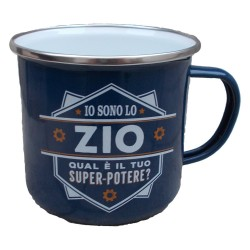 TAZZA mug IO SONO LO ZIO QUAL'E' IL TUO SUPERPOTERE? in metallo BLU h&h