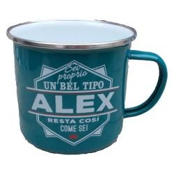 TAZZA mug ALEX in metallo NOMI smaltato VERDE ACQUA h&h IDEA REGALO