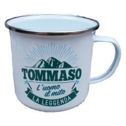 TAZZA mug TOMMASO in metallo NOMI smaltata BIANCA h&h IDEA REGALO