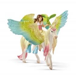 SURAH CON PEGASO GLITTER fantasy BAYALA miniature in resina SCHLEICH cavallo 70566 età 5+
