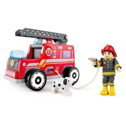 SQUADRA ANTINCENDIO furgone AUTO DEI POMPIERI set HAPE firemen IN LEGNO firemen E3024 età 3+