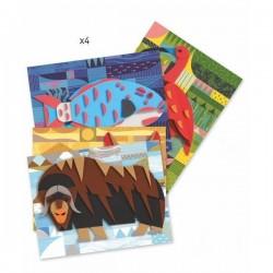 MOSAICI COLLAGE IN RILIEVO 3D kit artistico NELLA NATURA creativo DJECO adesivo DJ09407 età 6+