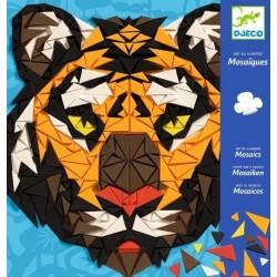 MOSAICI TIGRE in rilievo KHAN kit artistico ARTE IN NUMERI creativo DJECO adesivo DJ08887 età 8+