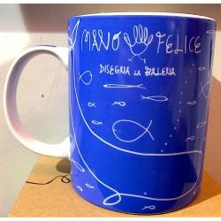 TAZZA mug WWF in porcellana BLU panini DISEGNA LA BALENA mano felice 350ML