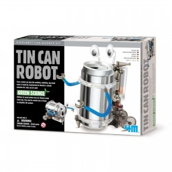 ROBOT CON LATTINA RICICLATA kit scientifico TIN CAN SET gioco 4M green science CAMMINA età 8+