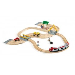 STRADA E FERROVIA in legno treni BRIO 33209 trenino RAIL AND ROAD TRAVEL SET