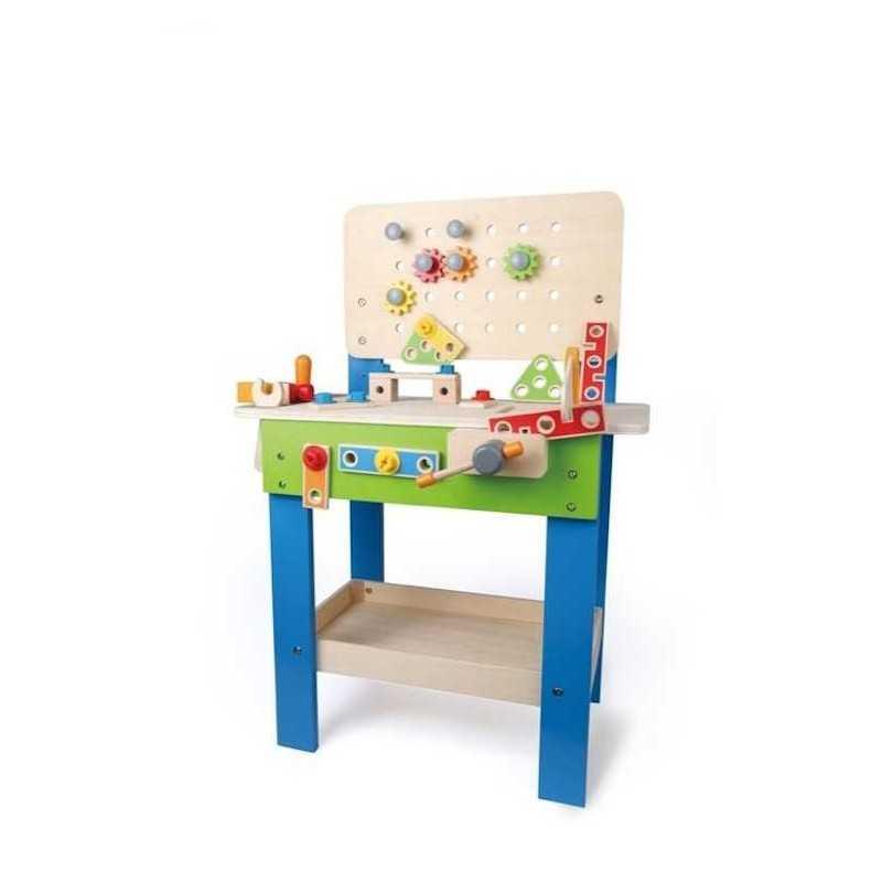 Banco da lavoro master gioco in legno e plastica hape 3 tavolo accessoriato - Tavolo da lavoro in legno ...