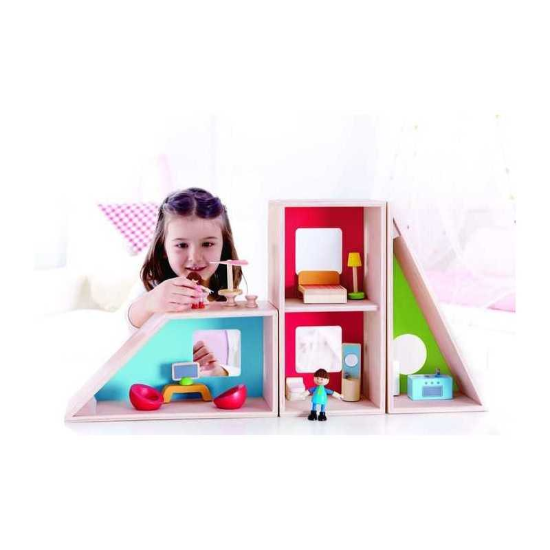 Casa delle bambole moderna geometrica hape gioco in legno accessori inclusi 3 - Accessori per casa moderna ...