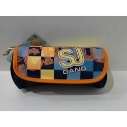 ASTUCCIO bustina bussolotto 2 scomparti zip e velcro SJ GANG BOY accessoriato SEVEN giallo blu