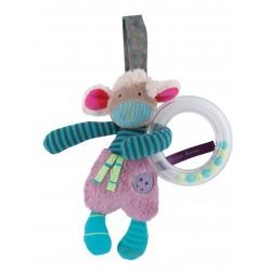 ANELLO SONAGLIO Pecora pecorella MOULIN ROTY Les Jolis Pas Beaux PELUCHE attività bebè PUPAZZO