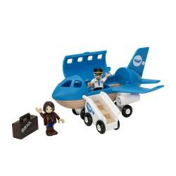 AEROPLANO CON SCALA IMBARCO in legno treni BRIO trenino 33306 Airplane aereo