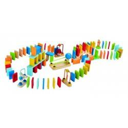 DOMINO DINAMICI in legno età 3+ Hape percorso 100 pezzi colorati costruzioni