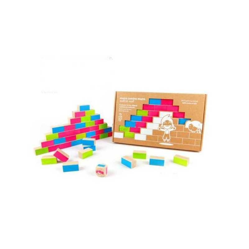 MURO CONTRO MURO gioco in legno MILANIWOOD 100% made in Italy DADI e mattoni