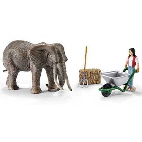 SET CURA ELEFANTE 41409 WILD LIFE miniature in resina SCHLEICH animali SCENARY PACK