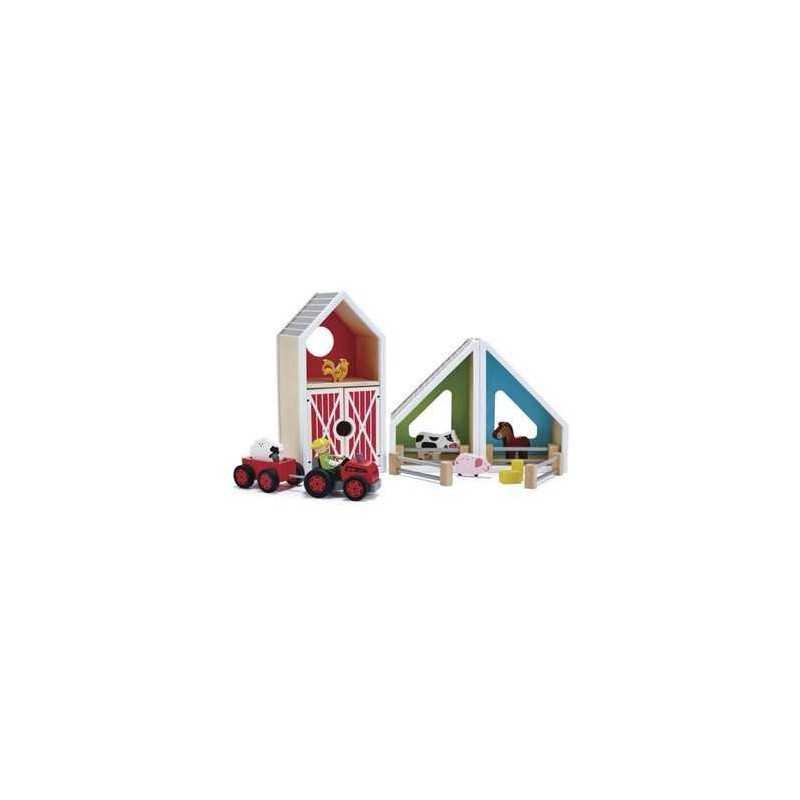 ALLEGRA FATTORIA gioco in legno HAPE Happy Family scenario con animali E3015