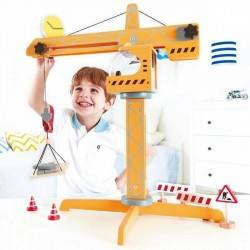 GIANT wooden toy CRANE HAPE from 3 years + working means LIFTING CRANE